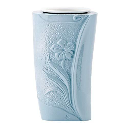 REAL VOTIVA FONDERIE D'ARTE Vase à Fleurs en Bronze pour Pierres tombales - Finition Turquoise - Ligne SEBA (19 cm, au Sol, récipient Interne en Plastique) [T.03.3298/19/PL]