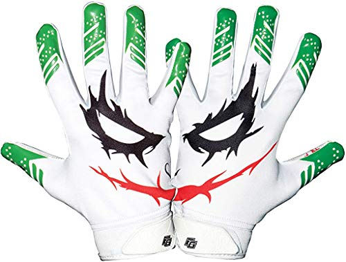 Essential Wear Football Gloves Men & Women - Smiley Jester White Football Gloves - Performance Enhancer Adult Receiver Gloves with Super Tacky Grip for Ultimate Game Experience - Adult Sizes (X-Large)