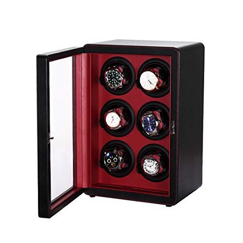 LLC- CLAYMORE Reloj Winder, Acabado de Cuero con Cojines Ajustables, 6 Espacios de bobinado Reloj Winders para Relojes automáticos, Japonés Extremadamente silencioso Motor