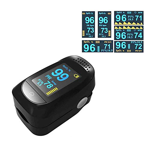 AlphaMed Fingertip Oximeter, Blood Oxygen Saturation Monitor, Pulse Heart Rate and Fast Spo2 Reading Oxygen Meter with Plethysmograph and Perfusion Index