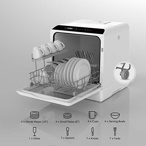 Countertop Dishwasher, HAVA Portable Dishwashers with 5 L Built-in Water Tank & Inlet Hose, 6 Programs, Baby Care, Air-Drying Function for Small Apartments, Dorms and RVs