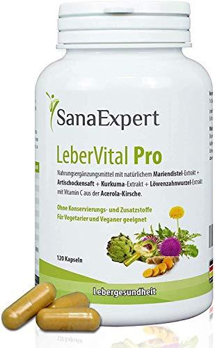 SanaExpert LeberVital Pro, Suplemento Nutricional para el Hígado y los Riñones, Capsulas Depurativas con Extracto de Cardo Mariano, Alcachofa, Cúrcuma, Raíz de Diente de León, 120 Cápsulas (1)