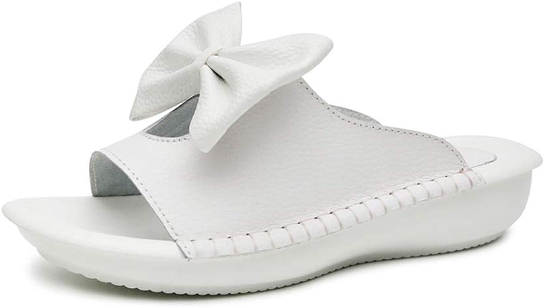Hoxekle Woman Bowknot Slide Flatform Flat Flip Flops Casual Peep Toe Antislip Outdoor PU Simple Fashion Sandals