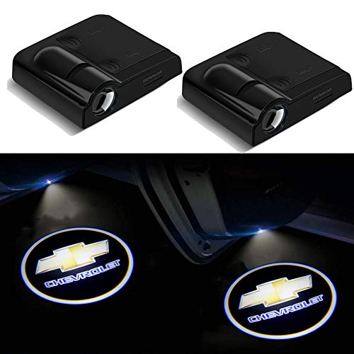 XINCHEN 2 Pieces Wireless Car Door Logo Light for Chevrolet, LED Car Door Courtesy Welcome Projector Light Ghost Shadow Lights Compatible Chevrolet with All Models