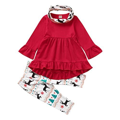 Voberry 3 Pezzi Vestiti Natalizi Bambina Abito Manica Svasata + Pantaloni Elfo di Natale + Sciarpa Ragazze Tuta Natale Invernale Autunno Set di Vestiti 6-24 Mesi