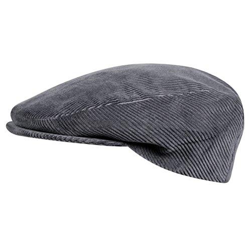 WEROR I Herren & Damen I Schiebermütze Schildmütze Schirmmütze Flatcap Cap Mütze I Cord I WEROR-114-40790 (Grau, 55 cm)