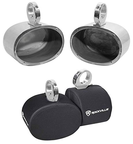 Pair Rockville MAC69S 6x9' Silver Aluminum Wakeboard Tower Speaker Pods+Covers
