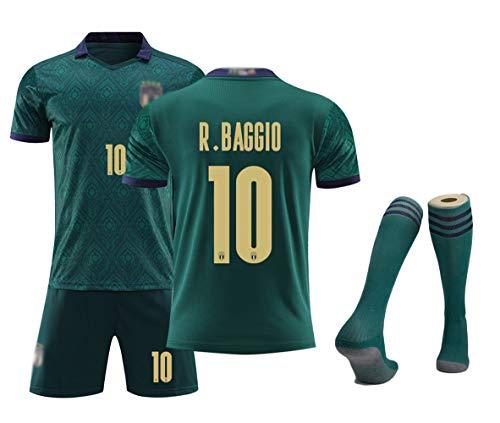 Fußballtrikots für Kinder Herren Jungen Jugend, Chiellini 3 Immobile 11 Baggio 10 Balotelli 9 Pirlo 21 Bonucci 19 Euro 2020 Italien Team Zweitauswärtsmannschaft Uniformen T-Shirt Shorts Socken-Ba