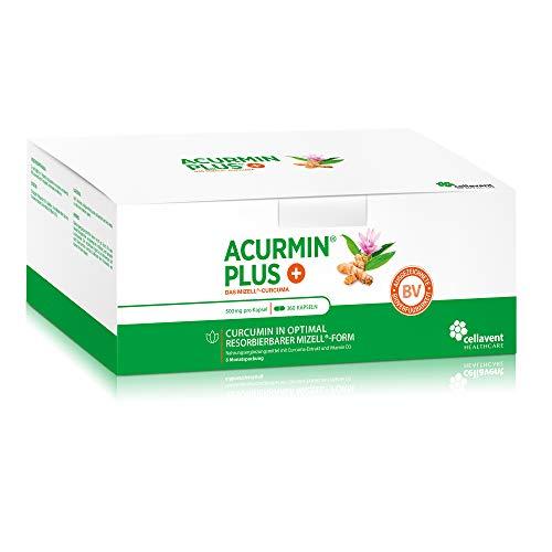 Kurkuma Kapseln hochdosiert von Acurmin PLUS – mizellares Curcumin + Vitamin D3 – ohne Piperin – C14 – 360 Kapseln
