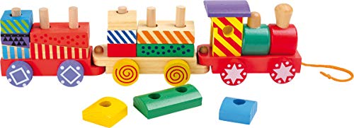 small foot 3498 Train Multicolore en bois, 13 cubes de construction et une locomotive avec deux wagons