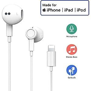 Auriculares para iPhone Auriculares Conector Par emergente Auriculares Aislamiento Auriculares Soporte Control de Volumen de Llamadas Compatible con iPhone 11/11Pro/7 Plus/8/X/XS MAX/XR para iOS