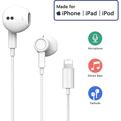 Auricolari per iPhone Auricolari in-Ear Cuffie con filo cablato Forniscono controllo del volume e del microfono compatibile con iPhone 11/11Pro/Max/XS/Max/XR/X/8/Plus/7 per iOS 10/11 -bianco