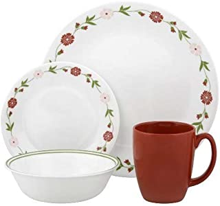 Corelle Classic 16 Pieces Dinnerware Set, Spring Pink (White/Red)