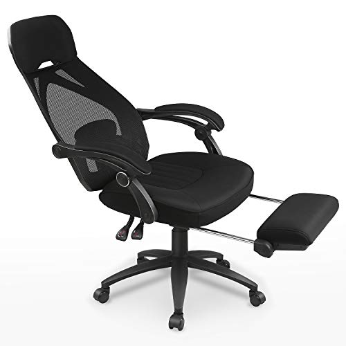 DEVAISE Ergonomics Recliner Office Chair, High Back Mesh Computer Desk Chair with Adjustable Lumbar and Footrest Support, Black