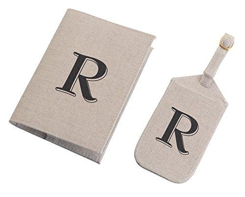 Lillian Rose Monogram Letter R Luggage Tag/Passport Cover, Tan