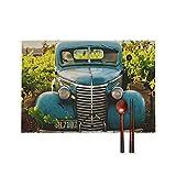 Set di 4 tovagliette per tavolo da pranzo, Old Town Country Vintage Automobile Rustico Blu Durevole Antimacchia Tappetini per tavolo da cucina Antiscivolo Lavabili Tovagliette 40 x 30 cm