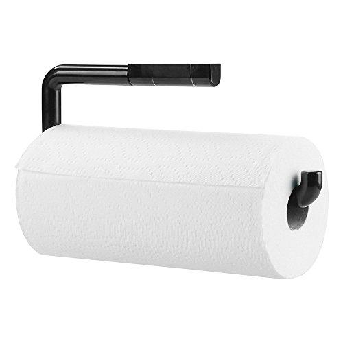 mDesign Soporte para rollo de papel de cocina - Portarrollos colgante - Práctico Dispensador de rollos para cocina para fijar a la pared - Color: negro - Material: plástico