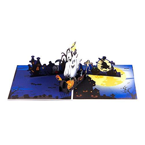 Halloween Pop Up Karten Farbdruck Kürbis und Geist 3D-Karten hohle geschnitzte Karte für Halloween-Party-Kaemma (Farbe: Bunt)