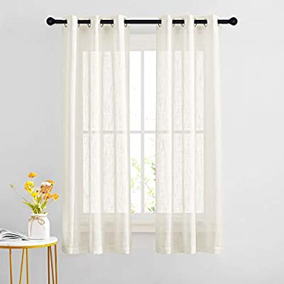 NICETOWN Faux Linen Sheer Curtains Privacy with Light Filter for Bedroom/Living Room