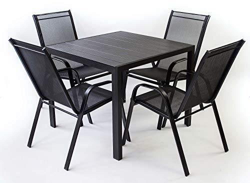 AVANTI TRENDSTORE - Badia - Set da Giardino Composto da 1 Tavolo in Metallo e polywood, con 4 sedie impilabili in Metallo e Rete di plastica Sintetica. Tavolo Disponibile in 2 Diverse Misure. (Small)