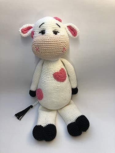 Peluche vache 37cm crochet en coton pour enfant