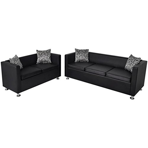 N / A vidaXL Kunstleder Sofa -Set mit Schlaffunktion, 3er Schlafsofa und 2er Sessel, Wohnzimmer Couch, Loungesofa, Kunstlederpolsterung + Holzgestell, für Büro, Wohnzimmer, Schwarz