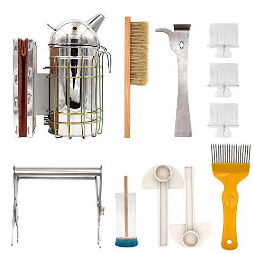 M.Z.A 8-in-1 Imker-Werkzeug-Set, Bienenräucher, Bürste, Queen-Fänger, J-Haken-Bienenstock-Werkzeug-Set, Imkerei-Starter-Set, Imkereiausrüstung für Profis und Anfänger