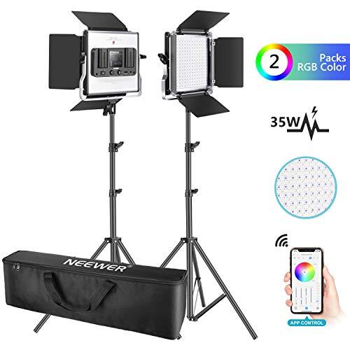Neewer 2er Pack 530 RGB LED Licht mit APP Steuerung Fotografie Videobeleuchtungs Set 528 SMD LEDs CRI95/3200K-5600K/Helligkeit 0-100%/0-360 einstellbare Farben/9 anwendbare Szenen