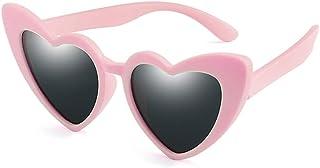 YULE - Gafas de sol para niños y niñas, polarizadas con forma de corazón, silicona flexible de 1,5 a 11 años, gafas de seguridad para niños, UV400 (color rosa