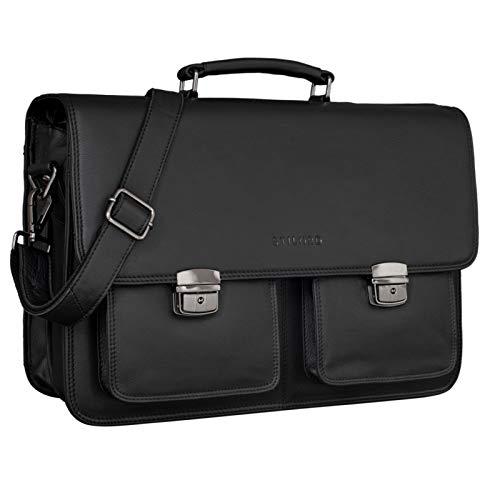 STILORD 'Arno' Ledertasche Aktentasche XL Vintage Laptop Tasche 15,6 bis 17 Zoll Große Umhängetasche Leder für Lehrer Business Arbeit Schultasche Trolley Aufsteckbar, Farbe:schwarz