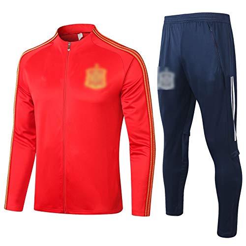 BVNGH Traje de entrenamiento de camiseta de fútbol español, 2021 Nueva temporada de manga larga, ropa deportiva para deportes al aire libre, ropa deportiva de hombre (S-XXL) rojo-XL
