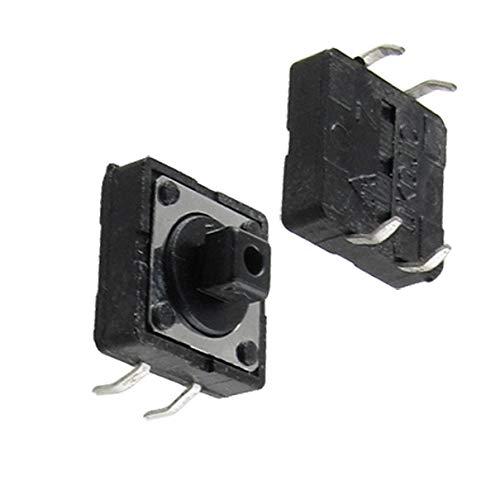 Aexit 10 Unids 12 x 12mm x 7.3mm PCB Interruptor de Botón Pulsador Tactil Momentáneo (model: R6621VIX-9831SW) 4 Pin DIP