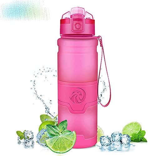 Botellas de agua deportivas - frasco libre anti-caída a prueba de fugas 500ml / 1000ml Drinkware Shaker Drink Bottle-1000ml, rosa
