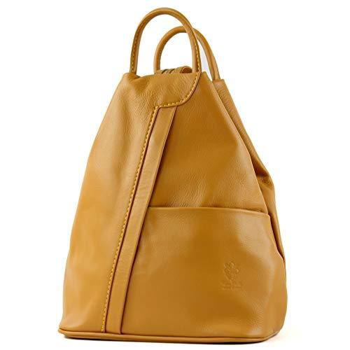 modamoda de - T180 - ital Damen Rucksack Tasche Nappaleder, Farbe:Senfgelb