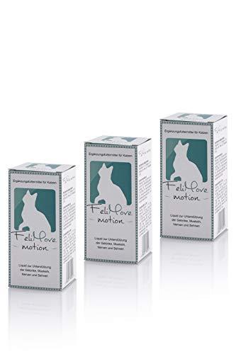 FeliMove 3er Spar-Paket Motion mit 3 x 60ml tierärztlichem Ergänzungsfuttermittel für alte und Junge Katzen mit Problemen der Beweglichkeit.