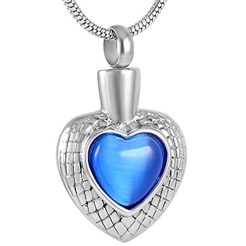 OPPJB Collares para Mujercollar con Colgante De Corazón De Cristal De Acero Inoxidable Mmorial para Ceniza De Urna para Mascotas/Humano con Grabado-F