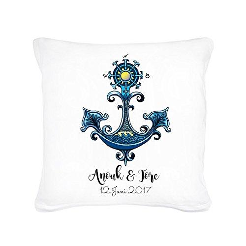 Ilka Parey Wandtattoo-welt Decorative Cushion Sofa Cushion Wedding Maritime with Anchor Art Nouveau Name and Date Including Filling ks50