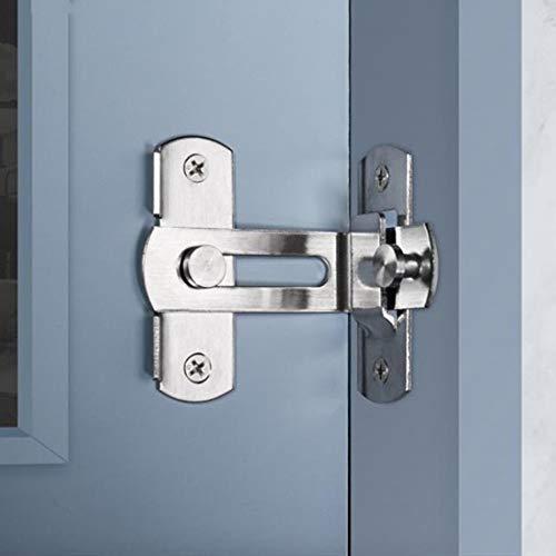 Verrou de porte à angle droit 90 degrés Boulon de verrouillage de boucle de verrouillage Boulon de barillet à verrou coulissant avec vis pour portes de toilette et fenêtres