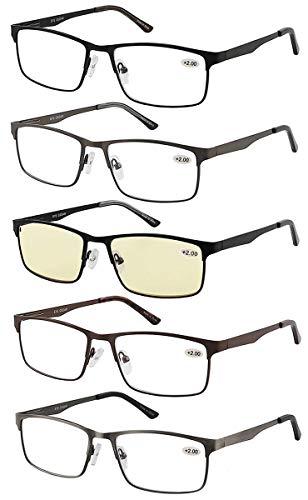 Eyecedar 5-Pack Reading Glasses Men Metal Frame Rectangle Style Stainless Steel Material Spring Hinges Includes Computer Readers +1.75