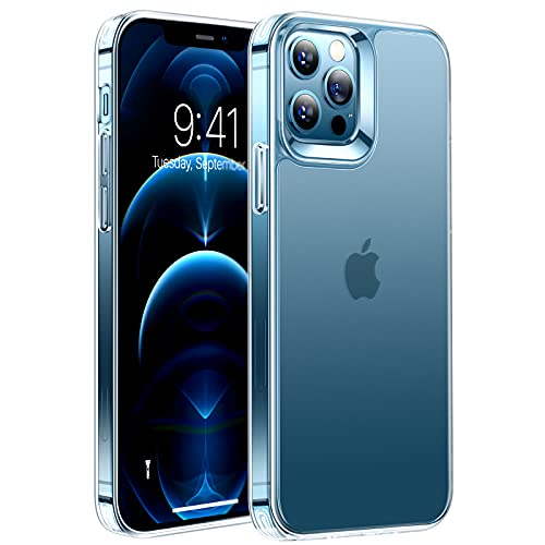 TORRAS Mist Clear Compatible for iPhone 12 Case, Compatible for iPhone 12 Pro Case, [Zero Fingerprints] [Non-Yellowing] Shockproof Mist Clear Soft Slim Fit Matte Case 6.1 inch 2020 5G, Mist Clear