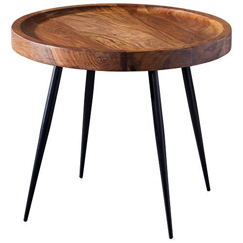 FineBuy Tavolino Legno Massello Sheesham Metallo 46 x 40 x 46 cm | Tavolo Soggiorno Stile Industriale | Tavolo Divano Prodotto Naturale | Tavolino da caffè Tondo