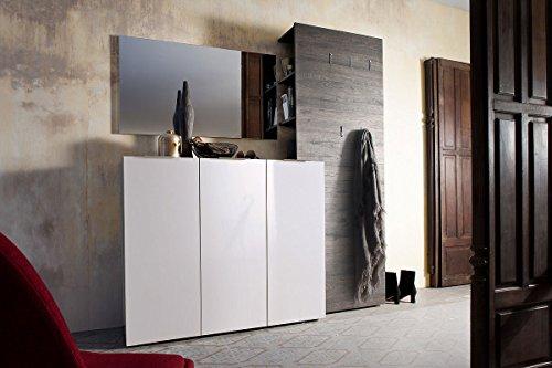 lifestyle4living Garderobe, Garderobenschrank, Garderoben-Set, Flurgarderobe, Garderobenmöbel, Dielenmöbel, Flurmöbel, Kommode, Hochglanz weiß, Wenge-Dekor
