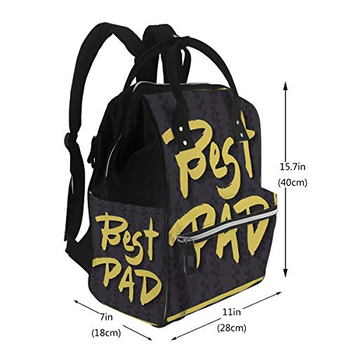 Diaper Bag Backpack, Large Capacity Baby Nappy Changing Bag Happy Fathers Day Greeting Card Best Dad Phrase Yellow Ink Modern Calligraphy Dark Multi-Function Waterproof Travel Back Pack