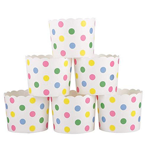 webake Muffin Papierförmchen Cupcake Formen Papier 50 Stück Muffinförmchen in Bunten Tupfen für Muffin Cupcake