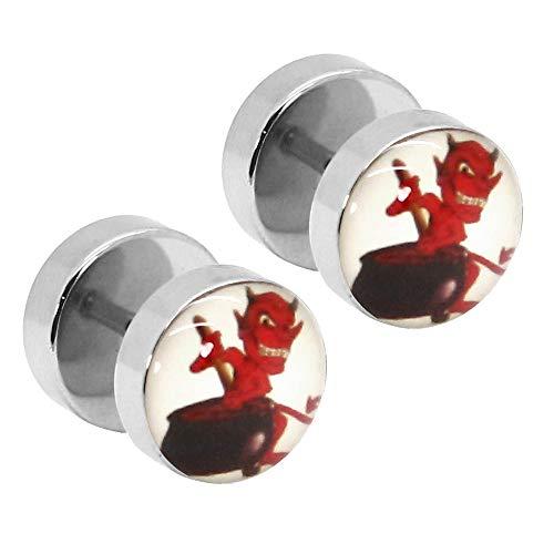 Tumundo® 2 Fake-Plugs Ohrring Motiv Teufel 10mm Flesh Fake-Tunnel Ohr-Piercing Ohrring Devil Rot Schwarz Weiß Edelstahl