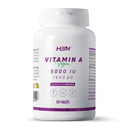 Vitamina A 5000 IU de HSN | Acetato de Retinilo | Alta Concentración y Máxima Biodisponibilidad | Vegano, Sin Gluten, Sin OGM | 120 Cápsulas Vegetales
