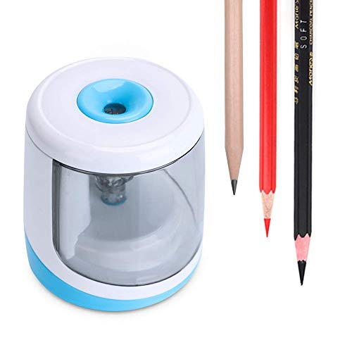 Pencil Sharpener, Auto Fast Sharpen for (6-8 mm) No.2 Pencil, and Battery Operated Color Pencil Cutter for School Supplies & Rewards/Office Writing- WorkerAnt