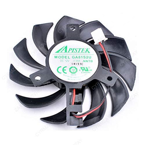 CYRMZAY Ventilatore Compatibile per EVEA Onda Scheda Grafica Ventola APISTEK GA81S2U -NNTB DC12V 0.38A Diametro 75mm 2PIN Ventola di Raffreddamento