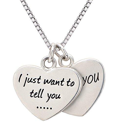 ALOV joyería de Plata esterlina Sólo Quiero decirte te Amo Collar Doble de los Corazones para la Novia, Esposa, Madre, Abuela, Hija y Regalos para el día de San Valentín, Navidad