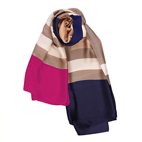 LANSILK Damen Seidentuch Mode - Elegant, Luxus Leichter Seidenpashmina & Cashmere Damenschal Kopftuch Halstuch Haarschal Langer Schal Große Schals (Pink Blue Navy Brown Patch Silk Scarf)